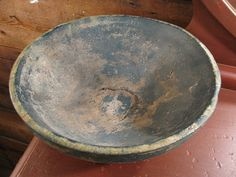 antique 17th-18th century hand made wooden bowl                              ****