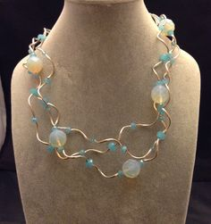 Opalite and sterling silver twisty tube necklace by LisaWiedebushJewelry on Etsy