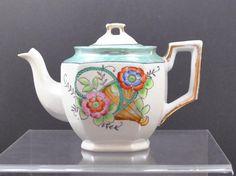 Vintage Iridescent Basket Flower Porcelain Coffee Tea Pot Made In Japan 6 1/2