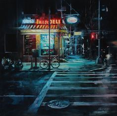 'City Streets' is a gorgeous series of illustrated streetscapes by Lindsey Kustusch, an oil painter based in the San Francisco Bay Area. Street Painting, City Painting, Oil Painting Abstract, Urban Painting, Painting Art, City Art, Nocturne, Abstract City, Cityscape Art