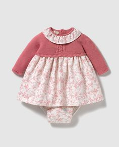 Vestido combinado de bebé niña Mini Tizzas Twins con estampado de flores Baby Boy Outfits, Kids Outfits, Knit Baby Dress, Mixed Babies, Baby Crafts, Baby Knitting Patterns, Baby Sewing, Crochet Baby, Kids Fashion