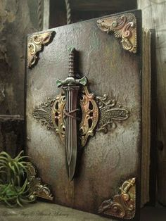 The Seafarer's Sword - Luthien Thye // this could totally be Merlin's (or Morgan's) lost grimoire Handmade Journals, Handmade Books, Altered Books, Altered Art, Magic Book, Leather Books, Fantasy, Journal Covers, Book Covers