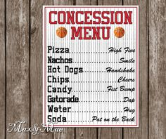 Sports Concession Menu, Baseball Theme, Baseball Party Decor, Baseball Party Banner, Ball Park Concession Digital File – Top Of The World Sports Themed Birthday Party, Basketball Birthday Parties, First Birthday Parties, Boy Birthday, First Birthdays, Birthday Ideas, Basketball Party Themes, Baseball Themed Parties, Baseball Party Games