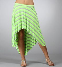 #Windsor                  #Skirt                    #Neon #Lime #Stripe #Skirt                          Neon Lime Hi Low Stripe Skirt                                                 http://www.seapai.com/product.aspx?PID=1733713