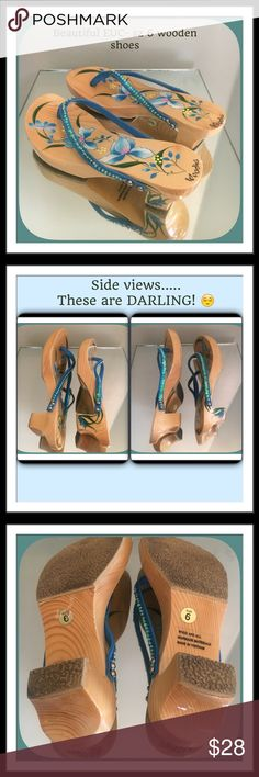 """WOODIES beautiful floral, sequins, nonskid shoes 6 Size 6 - stunning- gorgeous blues- thick shiny wood, 2"""" heel , 1 """" platform front, slide in shoes! Were only put on once. My daughter grew out of them. (She's now 6') , Beautiful blue sequins, The shoes are just amazing!  They are comfortable too! (Daughter says! She was devastated when she went to wear them and they didn't fit! :/ ) lots of tread on the bottom! The tread keeps you from sleeping! NO SKID! I can wipe the tread and I'll prob…"""