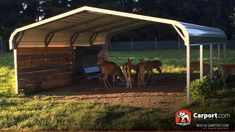 This triple wide metal carport is certified for harsh weather conditions and is built with a durable steel frame. Free installation and delivery! Horse Shelter, Animal Shelter, Diy Carport Kit, Metal Rv Carports, Steel Material, Prefab, Steel Frame, Shelters, Building