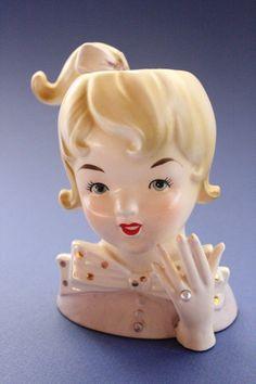 Lady Head Vase Girl Teen Inarco 1061 Lavendar by JITTT on Etsy, $45.00