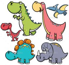 Illustration about Vector illustration of Dinosaurs cartoon characters. Illustration of comic, mascot, illustration - 46075718 Dinosaur Drawing, Cartoon Dinosaur, Cute Dinosaur, Dinosaur Party, Dinosaur Birthday, Dinosaur Images, Dinosaur Pictures, Cartoon Drawings, Animal Drawings