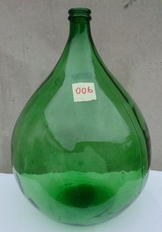 Antique Italian Demijohn emerald Glass - Wine Making Huge - carboy - Light Green