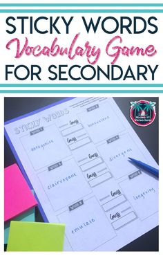 Sticky Words Vocabulary Game – Language Arts Classroom Sticky Words Vocabulary Game Differentiated, brain-based vocabulary game for middle and high school students in any subject area Vocabulary Strategies, Vocabulary Instruction, Academic Vocabulary, Teaching Vocabulary, Vocabulary Activities, Vocabulary Words, High School Activities, Vocabulary Practice, Listening Activities