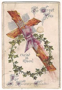 Christ is #risen happy easter cross ivy #postcard vtg davidson bros #england 1910,  View more on the LINK: http://www.zeppy.io/product/gb/2/182036011803/