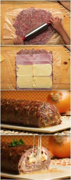 ROCAMBOLE DE CARNE RECHEADO, O MELHOR ROCAMBOLE DA VIDA! (veja como fazer) #rocambole #carne #rocamboledecarne