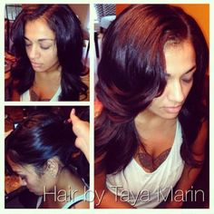Versatile sew in, can be pulled up into a high ponytail, loose curls. -Hair by Taya Marin  IG: @hairbytayamarin