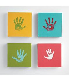 Hand prints. I made these for the boys room, but put the first letter of their name on one block and their handprint on the other.  They look great!