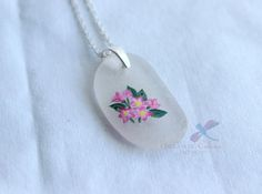 Painted Sea Glass Pendant Mayflowers by IDreaminColourDoYou Handmade Jewelry, Unique Jewelry, Handmade Gifts, May Flowers, Sterling Silver Chains, Sea Glass, Jewelry Accessories, Hand Painted, Homemade