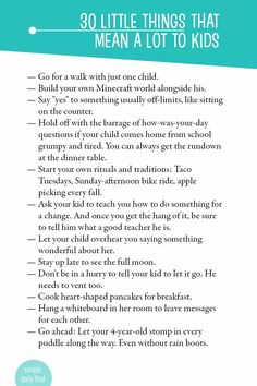 30 Little Things That Mean a Lot to Kids
