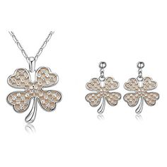 Teen Girls Clover Pendant White Gold Plated Zircon Necklace Earrings Jewelry Set >>> Visit the image link more details.