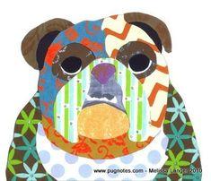 English Bulldog collage, via Etsy.