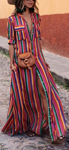 BOHO Button Down Collar Stripes Roll Up Sleeve Maxi Vacation Dresses – streettide maxi summer dress Maxi Shirt Dress, Maxi Dress With Sleeves, Short Sleeve Dresses, Long Sleeve, Dress Shirts For Women, Summer Dresses For Women, Boho Summer Dresses, Women's Fashion Dresses, Casual Dresses