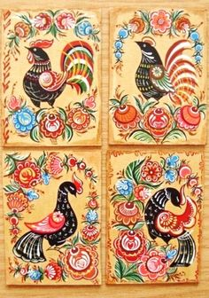 Folk Gorodets painting from Russia. Birds.