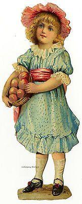 Vintage Victorian die cut paper scrap, Girl with a basket of apples c. 1880