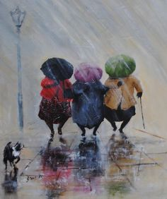 Michela# Beautiful Art By Des Brophy I Love Rain, No Rain, Walking In The Rain, Singing In The Rain, Rain Art, Umbrella Art, Illustration Mode, Illustrations, Happy Art