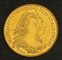 Brazilian Gold Coins 6400 Reis Maria I & Peter III