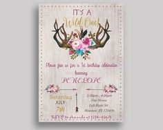Wild One Birthday Invitation Wild One Birthday Party Invitation Wild One Birthday Party Wild One Invitation Girl antlers, bouquet V0J6X - Digital Product #birthdayInvitations #birthdayParty #birthdayPartyInvitations