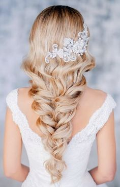 Side plaited wedding hairstyle with white dress via imgfave.com