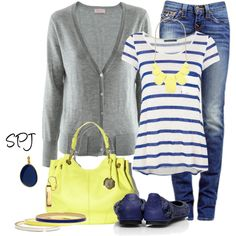 Weekend Outfits | Blue & Yellow | Fashionista Trends  Eeeek! One of my favorite color combos! Blue and Yellow!