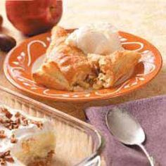 """Puff Pastry Apple Turnovers Recipe -""""I had a package of puff pastry in my freezer and mentioned to a friend that I'd like to make apple turnovers,"""" notes Coleen Cavallaro of Oak Hill, New York. """"She shared a recipe that I adapted for the puff pastry. These turnovers were a big hit on my first try!"""""""