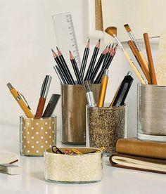 Just glasses and paper - Porta treco - Porta lápis - Organizador de Home Office - DIY with glass bottles - Faça você mesmo - Reciclagem de garrafas e potes de vidro!