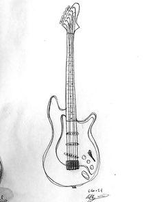 Electric Guitar Guitar Sketch, Guitar Drawing, Guitar Painting, Drawing Sketches, Pencil Drawings, Drawing Ideas, Art Drawings, Nice Art, Cool Art