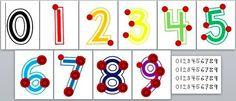 Números punteados para contar, representar, sumar y restar.