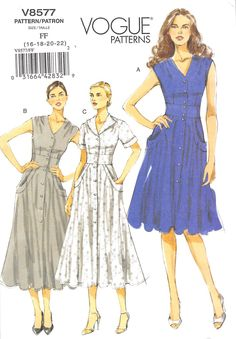 Close-fitting, lined, flared dresses A, B, C have darts, front and back gathers, side front pockets with pocket bands and button front closing. A, B: sleeves. C: sleeves with cuffs. A: mid-knee length