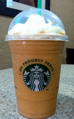 Pumpkin Spice Frappuccino Starbucks Coffee at Cafe BLUE. This means it is fall now!