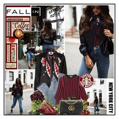 """""""Fall coffee in New York City"""" by katik27 ❤ liked on Polyvore featuring River Island, Mix Nouveau, Sonia Rykiel, STELLA McCARTNEY, Gucci, Rockins and Ray-Ban"""