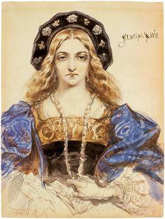 Portrait of a Young Woman (thought to be Bona Sforza) by Jan Matejko, 1861 Lituania, Bona, Retratos, Arte De Oficina, Movimiento De Artes Y Artesanías, Cultura, Carteles Antiguos, Tutoriales De Arte, Polonia