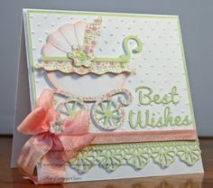Baby Cards Joyfully Made Designs: Baby Buggy - CottageCutz Baby Girl Cards, New Baby Cards, Baby Motiv, Best Wishes Card, Baby Buggy, Shower Bebe, Spellbinders Cards, Beautiful Handmade Cards, Baby Shower Cards