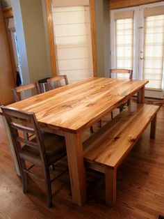 Items similar to Rustic Solid Hickory Farmhouse Table on Etsy Hickory Furniture, Rustic Wood Furniture, Dining Room Furniture, Dining Room Table, Custom Furniture, Kitchen Chairs, Furniture Ideas, Patio Table, Farmhouse Furniture