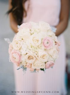 White and pale pink roses bridesmaids bouquet | Virginia and Shawn's winery wedding at Novelty Hill Januik, Woodinville Washington!