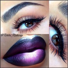 Ombre lip and winged liner