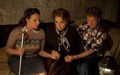 Home Fires - Ep. 5   Love the stripey feather-and-fan sweater!
