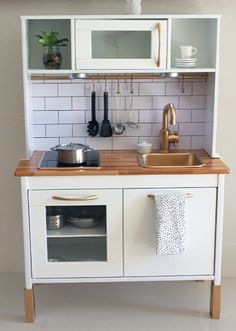 Snazzy Play Kitchen Adding Subway Tiles, A Metallic Gold Painted Faucet,  Mood Lighting, And Itty Bitty Accessories To Make The Perfect Grown Up  Kitchen For ...