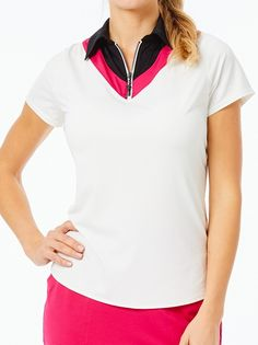 Check out what Loris Golf Shoppe has for your days on and off the golf course! Belyn Key Ladies & Plus Size Chevron Short Sleeve Golf Polo Shirts - MADRID (Chalk/Raspberry)