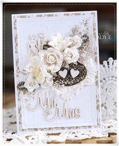 Vintage wedding card in white & brown with metal elements 💛 Flowers #wildorchidcrafts chipboards @scrapiniec 💕 #instaartist #instacard #cardmaking #handmade #uniquegift #instawedding #instaart #scrapiniec #rekodzielo #kartka #instacrafts