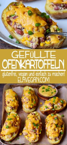 These healthy stuffed potato skins are great for dinner. They are stuffed with corn, beans, and vegan cheese. The recipe is plant-based and gluten-free. Russet Potato Recipes, Healthy Potato Recipes, Scalloped Potato Recipes, Healthy Dinner Recipes, Vegetarian Recipes, Potato Recipes For Dinner, Protein Recipes, Healthy Sweets, Stuffed Baked Potatoes