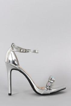 b28db82618cb Anne Michelle Metallic Jeweled Open Toe Ankle Strap Stiletto Heel Women s  Shoes
