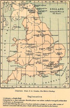 Map of the Wars of the Roses and good explanatory article/information - basic gyst: 2 Plantagenet families (York vs Lancaster) vied for the throne (aprx 1455-1487) Final outcome was won by Lancastrian Henry Tudor who then married Elizabeth of York - uniting the 2 families and ushering in the Tudor Dynasty