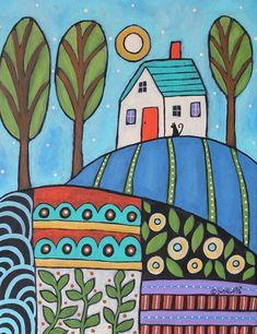 Saturday Blue 11x14 ORIGINAL CANVAS PAINTING house FOLK ART PRIM Karla Gerard #FolkArtAbstractPrimitive